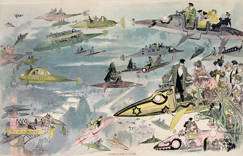 Sortie de l'Opera en l'an 2000: a painting from 1902 in which Albert Robida imagines people leaving the Opera in the year 2000