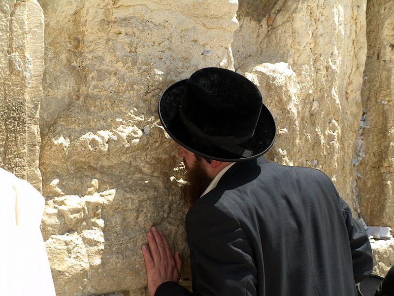 Jewish man at the Western Wall, Jerusalem (Wikipedia)